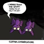 bats, coffee, coffee cartoon, Sean D'Souza, bats in center