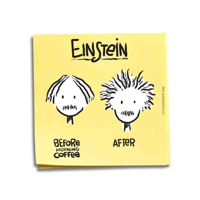 Friday Cartoon: Einstein Coffee: Square Toon: Psychotactics