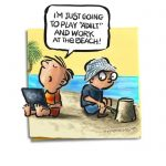 Friday Cartoon: Beach Work: Square Toon: Psychotactics